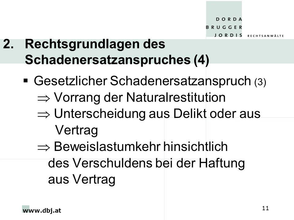 www.dbj.at 11 2. Rechtsgrundlagen des Schadenersatzanspruches (4) Gesetzlicher Schadenersatzanspruch (3) Vorrang der Naturalrestitution Unterscheidung