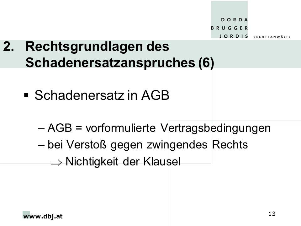 www.dbj.at 13 2. Rechtsgrundlagen des Schadenersatzanspruches (6) Schadenersatz in AGB –AGB = vorformulierte Vertragsbedingungen –bei Verstoß gegen zw