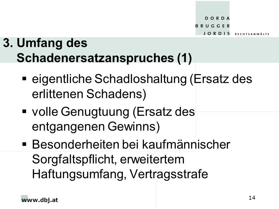 www.dbj.at 14 3. Umfang des Schadenersatzanspruches (1) eigentliche Schadloshaltung (Ersatz des erlittenen Schadens) volle Genugtuung (Ersatz des entg