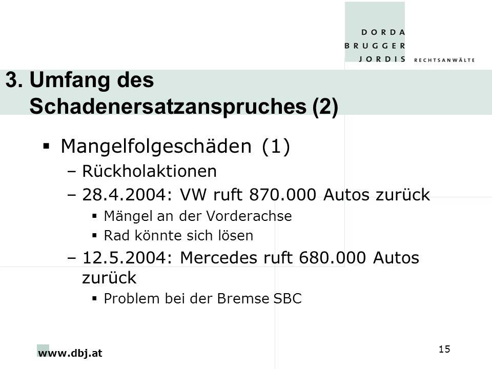 www.dbj.at 15 3. Umfang des Schadenersatzanspruches (2) Mangelfolgeschäden (1) –Rückholaktionen –28.4.2004: VW ruft 870.000 Autos zurück Mängel an der