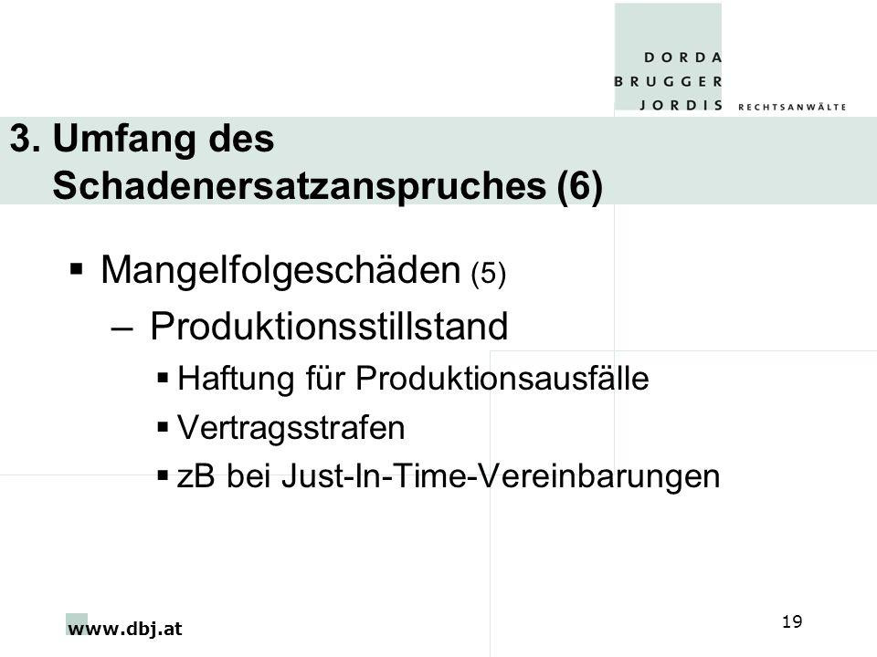 www.dbj.at 19 3. Umfang des Schadenersatzanspruches (6) Mangelfolgeschäden (5) – Produktionsstillstand Haftung für Produktionsausfälle Vertragsstrafen