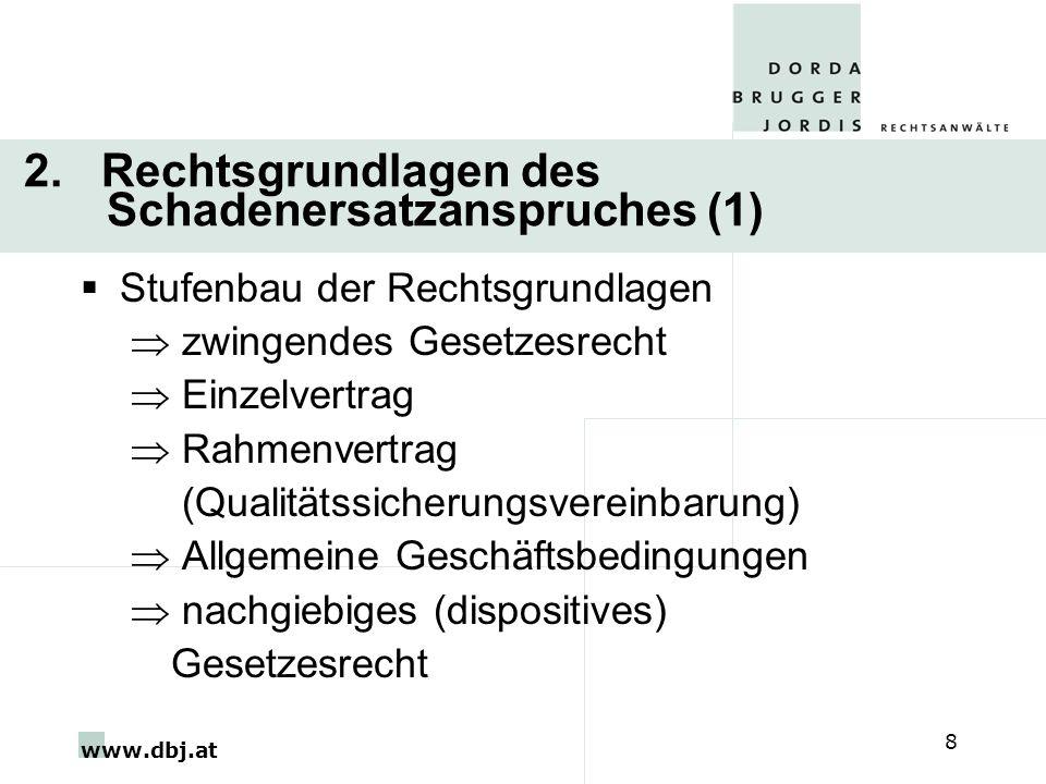 www.dbj.at 8 2. Rechtsgrundlagen des Schadenersatzanspruches (1) Stufenbau der Rechtsgrundlagen zwingendes Gesetzesrecht Einzelvertrag Rahmenvertrag (