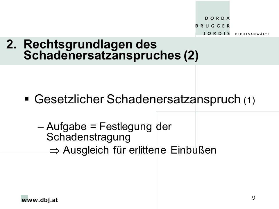 www.dbj.at 9 2. Rechtsgrundlagen des Schadenersatzanspruches (2) Gesetzlicher Schadenersatzanspruch (1) –Aufgabe = Festlegung der Schadenstragung Ausg