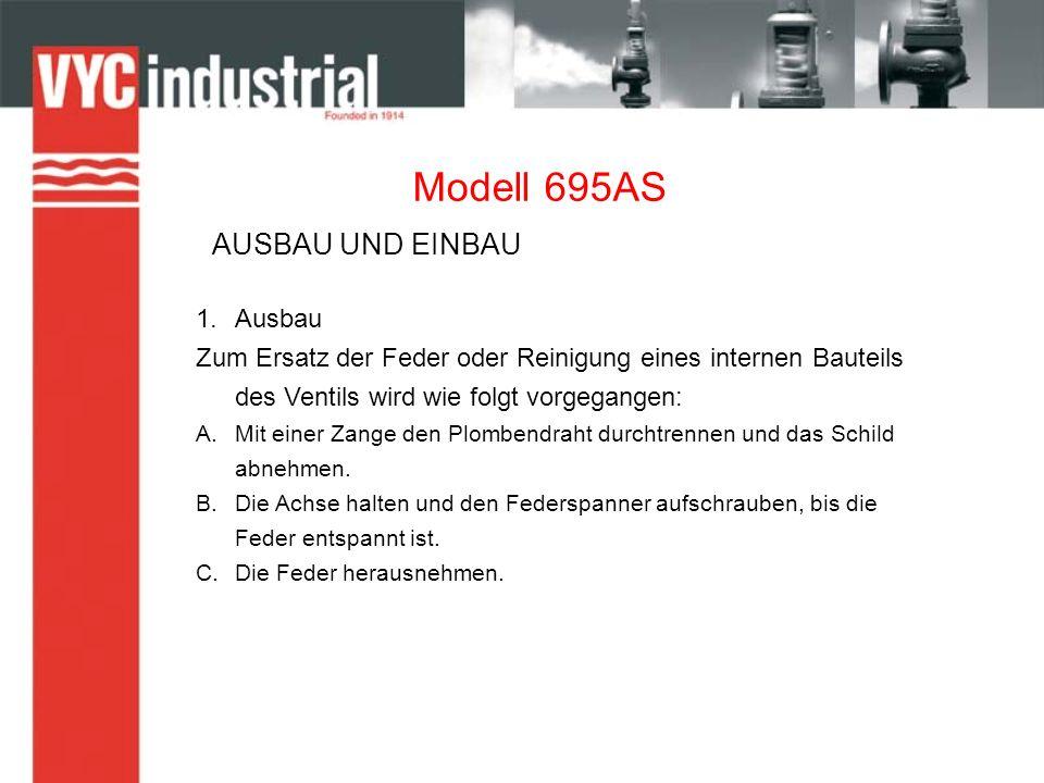 Modell 695AS 1.Ausbau Zum Ersatz der Feder oder Reinigung eines internen Bauteils des Ventils wird wie folgt vorgegangen: A.Mit einer Zange den Plombe