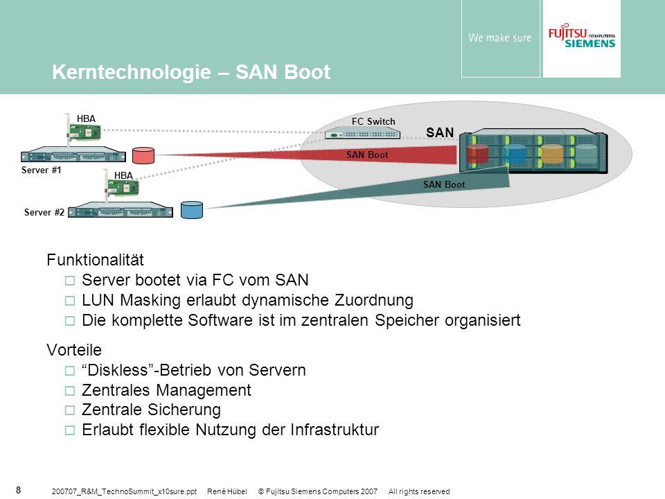 200707_R&M_TechnoSummit_x10sure.ppt René Hübel © Fujitsu Siemens Computers 2007 All rights reserved 29 Unterm Strich Automatische, kostengünstige Hochverfügbarkeit für Server- farmen mit Windows-Anwendungen und für Konsolidierungs- projekte Ausweiten der Hochverfügbarkeit auf neue Server ohne zusätzliche Investitionen Einfach zu konfigurieren, zu installieren und zu bedienen Reduzierte TCO durch mehr Betriebszeit durch geringere Investitionen in Redundanz durch effizienteren Betrieb nach Konsolidierung Nutzen Sie den Vorteil durch Beschreiten neuer Wege!
