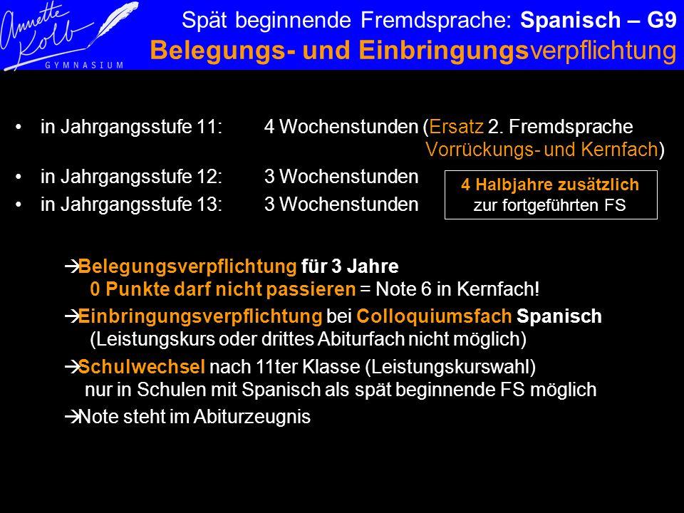 Spät beginnende Fremdsprache: Spanisch – G9 Belegungs- und Einbringungsverpflichtung in Jahrgangsstufe 11: 4 Wochenstunden (Ersatz 2. Fremdsprache Vor