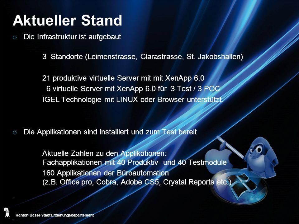 Kanton Basel-Stadt Aktueller Stand o Die Infrastruktur ist aufgebaut 3 Standorte (Leimenstrasse, Clarastrasse, St. Jakobshallen) 21 produktive virtuel