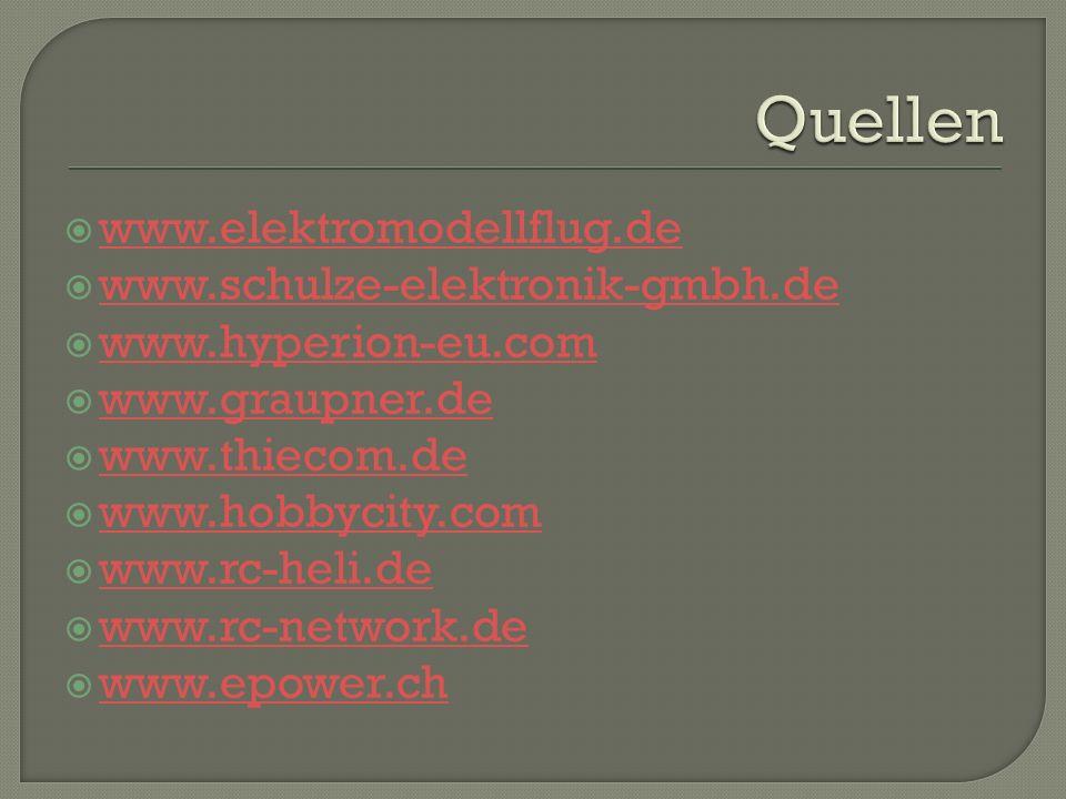 www.elektromodellflug.de www.schulze-elektronik-gmbh.de www.hyperion-eu.com www.graupner.de www.thiecom.de www.hobbycity.com www.rc-heli.de www.rc-network.de www.epower.ch