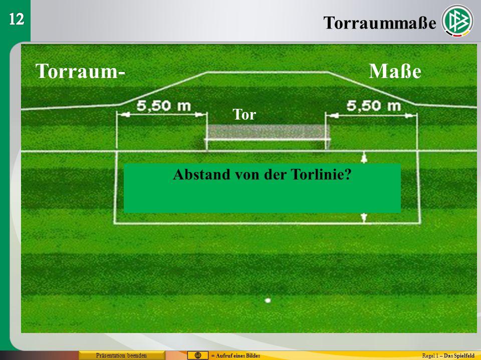Torraum-Maße Tor Abstand von der Torlinie? Torraummaße Regel 1 – Das Spielfeld = Aufruf eines Bildes Präsentation beenden