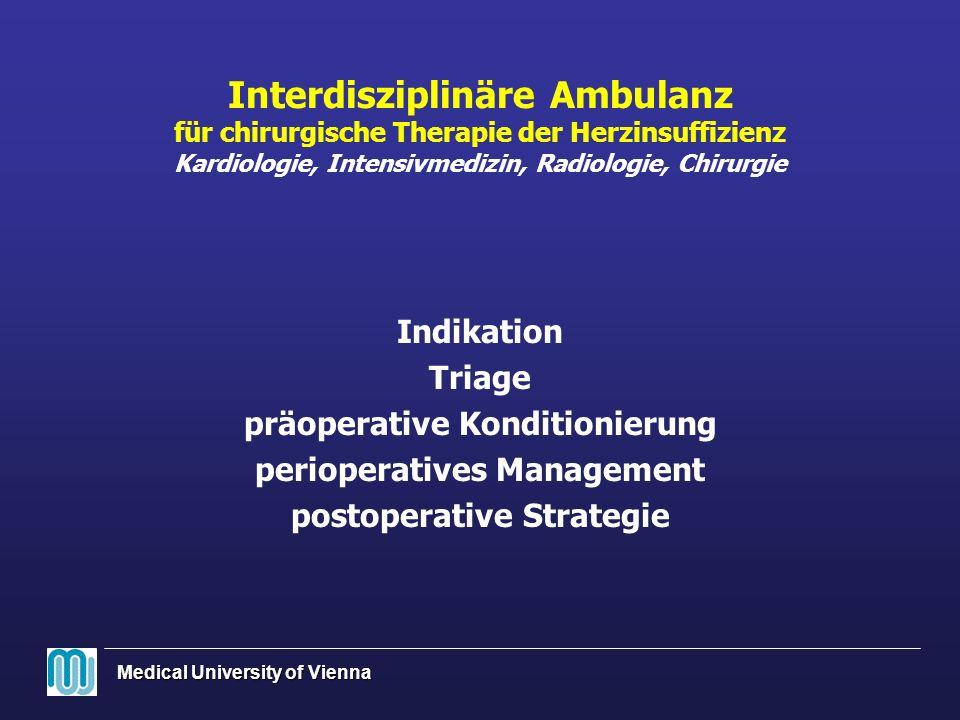 Medical University of Vienna Interdisziplinäre Ambulanz für chirurgische Therapie der Herzinsuffizienz Kardiologie, Intensivmedizin, Radiologie, Chiru