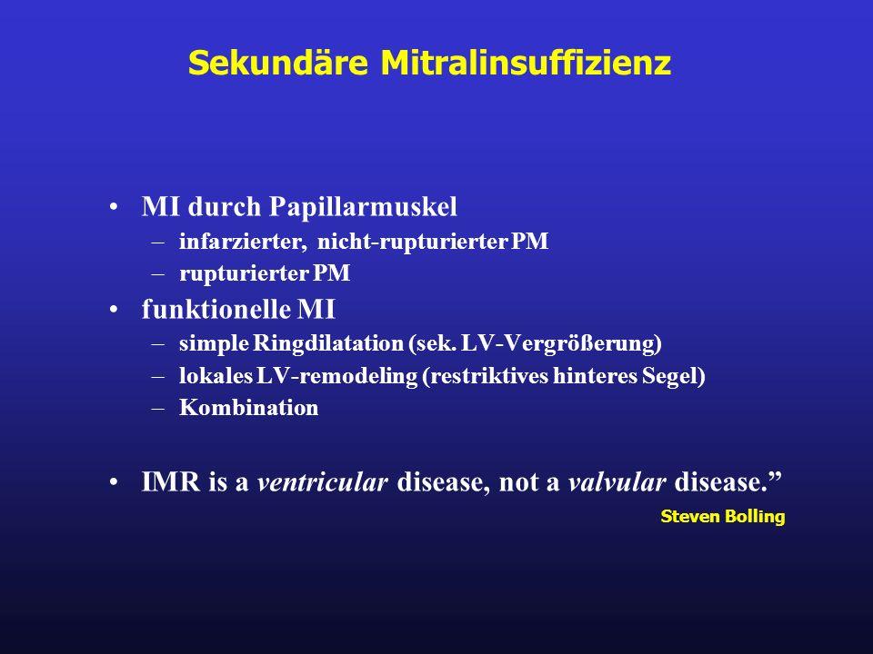 Sekundäre Mitralinsuffizienz MI durch Papillarmuskel –infarzierter, nicht-rupturierter PM –rupturierter PM funktionelle MI –simple Ringdilatation (sek