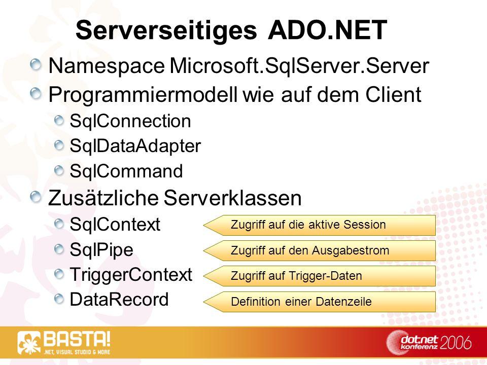 Serverseitiges ADO.NET Namespace Microsoft.SqlServer.Server Programmiermodell wie auf dem Client SqlConnection SqlDataAdapter SqlCommand Zusätzliche Serverklassen SqlContext SqlPipe TriggerContext DataRecord Zugriff auf die aktive Session Zugriff auf den Ausgabestrom Zugriff auf Trigger-Daten Definition einer Datenzeile