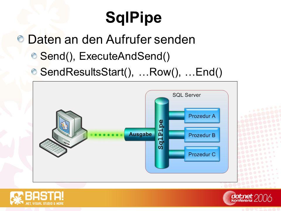 SqlPipe Daten an den Aufrufer senden Send(), ExecuteAndSend() SendResultsStart(), …Row(), …End()