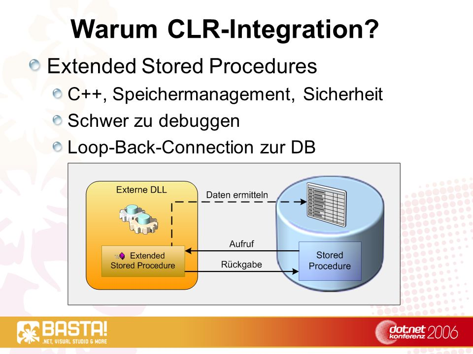 Warum CLR-Integration? Extended Stored Procedures C++, Speichermanagement, Sicherheit Schwer zu debuggen Loop-Back-Connection zur DB