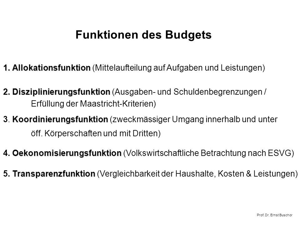 Funktionen des Budgets 1.Allokationsfunktion 1.