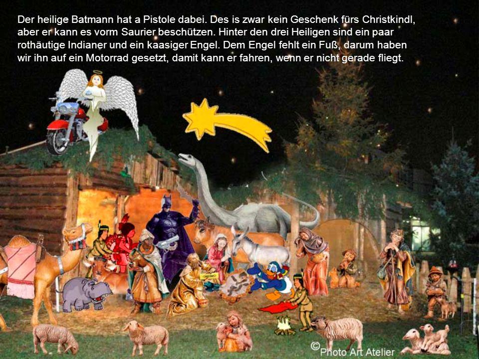 Der heilige Batmann hat a Pistole dabei.