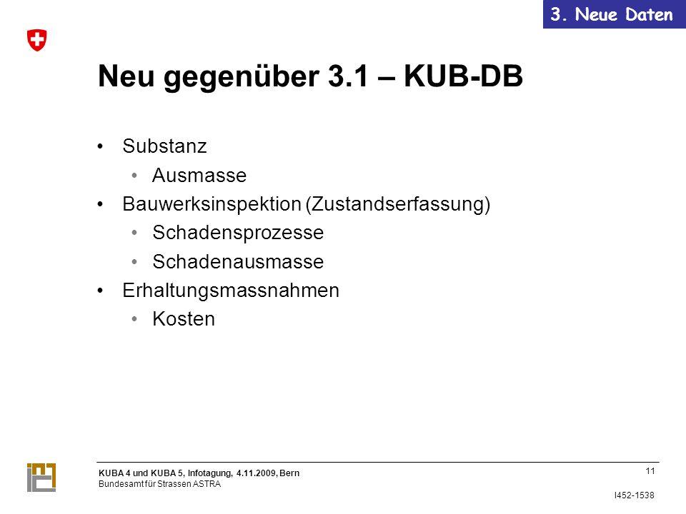 KUBA 4 und KUBA 5, Infotagung, 4.11.2009, Bern Bundesamt für Strassen ASTRA I452-1538 Neu gegenüber 3.1 – KUB-DB Substanz Ausmasse Bauwerksinspektion (Zustandserfassung) Schadensprozesse Schadenausmasse Erhaltungsmassnahmen Kosten 11 3.