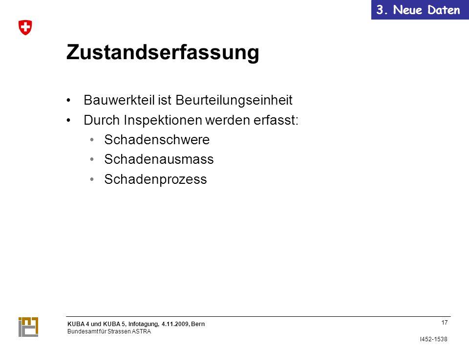 KUBA 4 und KUBA 5, Infotagung, 4.11.2009, Bern Bundesamt für Strassen ASTRA I452-1538 Zustandserfassung Bauwerkteil ist Beurteilungseinheit Durch Inspektionen werden erfasst: Schadenschwere Schadenausmass Schadenprozess 17 3.