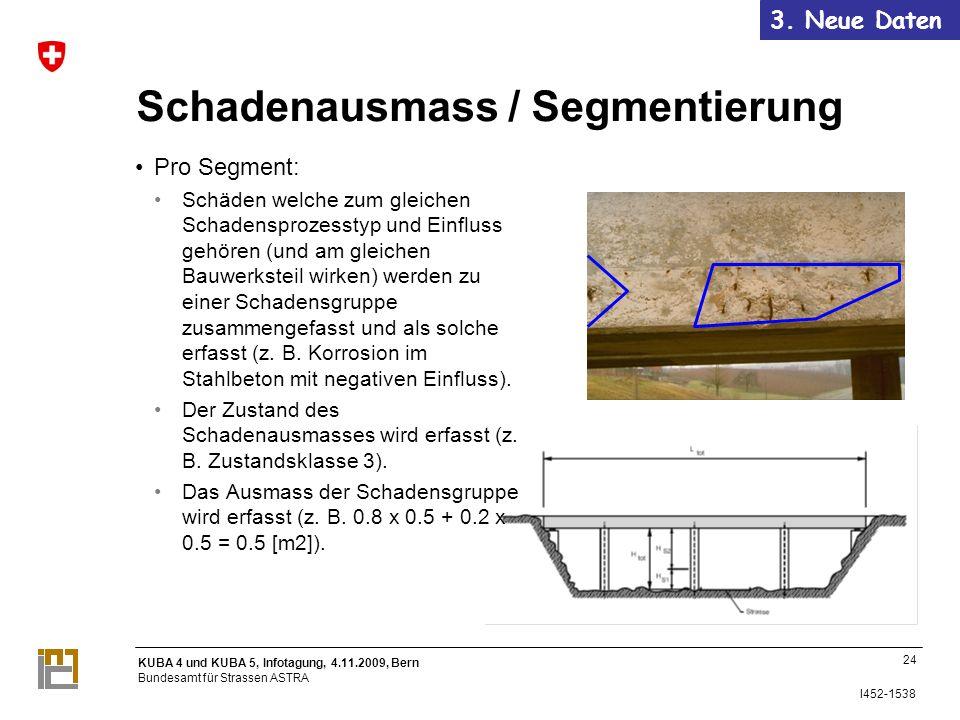 KUBA 4 und KUBA 5, Infotagung, 4.11.2009, Bern Bundesamt für Strassen ASTRA I452-1538 24 Schadenausmass / Segmentierung Pro Segment: Schäden welche zum gleichen Schadensprozesstyp und Einfluss gehören (und am gleichen Bauwerksteil wirken) werden zu einer Schadensgruppe zusammengefasst und als solche erfasst (z.