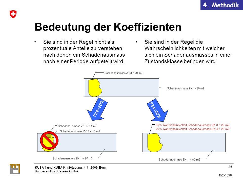 KUBA 4 und KUBA 5, Infotagung, 4.11.2009, Bern Bundesamt für Strassen ASTRA I452-1538 P34=20% 36 Bedeutung der Koeffizienten Sie sind in der Regel nicht als prozentuale Anteile zu verstehen, nach denen ein Schadenausmass nach einer Periode aufgeteilt wird.