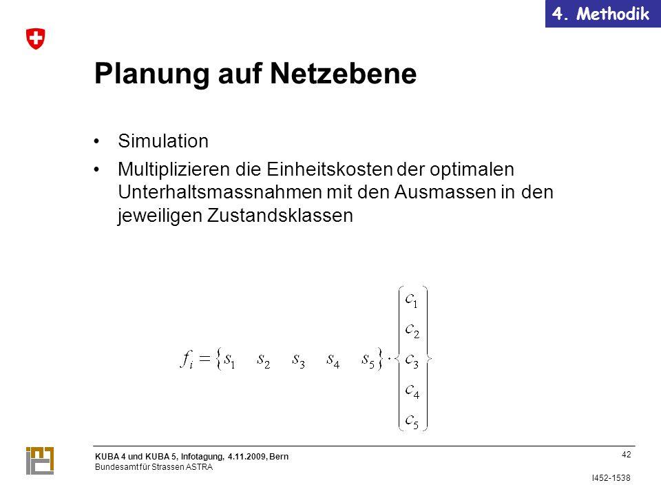 KUBA 4 und KUBA 5, Infotagung, 4.11.2009, Bern Bundesamt für Strassen ASTRA I452-1538 Planung auf Netzebene Simulation Multiplizieren die Einheitskosten der optimalen Unterhaltsmassnahmen mit den Ausmassen in den jeweiligen Zustandsklassen 42 4.
