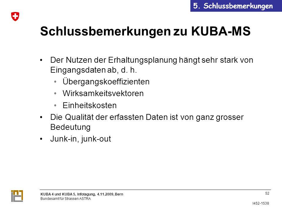 KUBA 4 und KUBA 5, Infotagung, 4.11.2009, Bern Bundesamt für Strassen ASTRA I452-1538 Schlussbemerkungen zu KUBA-MS Der Nutzen der Erhaltungsplanung hängt sehr stark von Eingangsdaten ab, d.