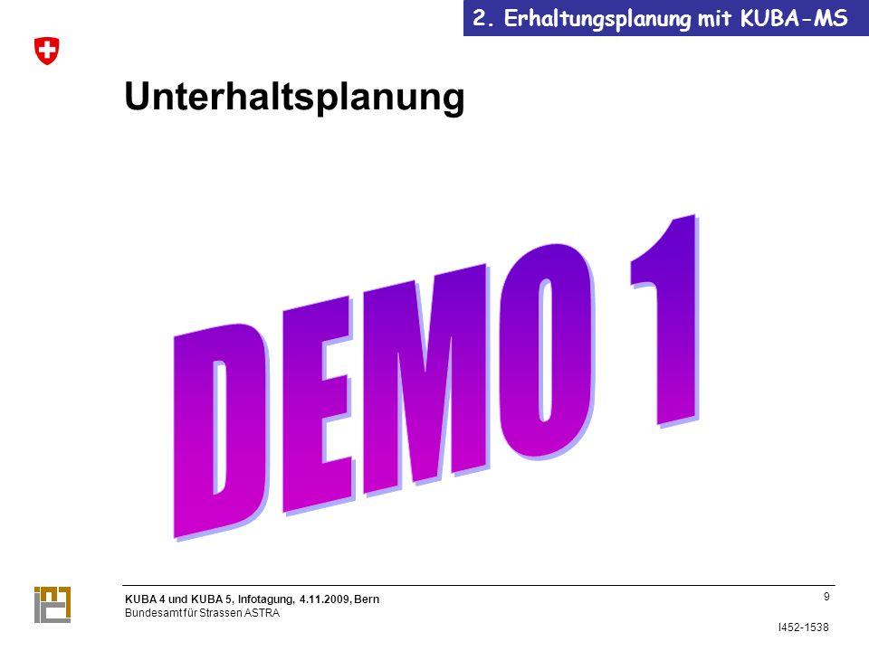 KUBA 4 und KUBA 5, Infotagung, 4.11.2009, Bern Bundesamt für Strassen ASTRA I452-1538 Unterhaltsplanung 9 2.