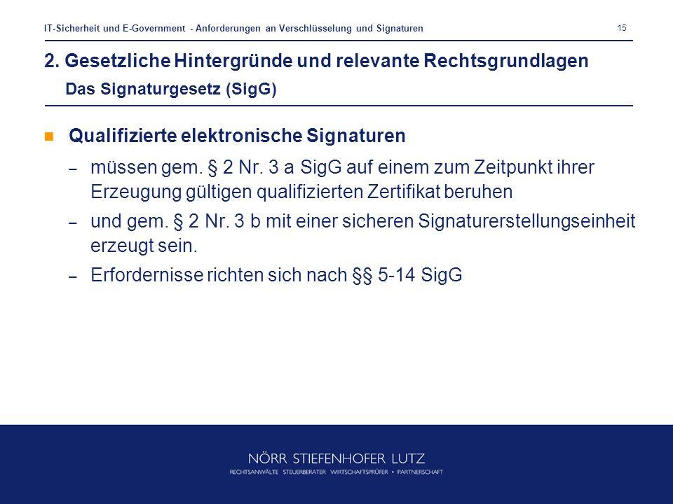 15 IT-Sicherheit und E-Government - Anforderungen an Verschlüsselung und Signaturen Qualifizierte elektronische Signaturen – müssen gem. § 2 Nr. 3 a S