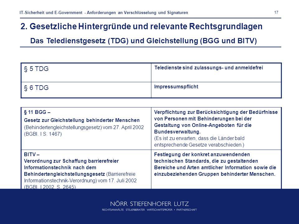 17 IT-Sicherheit und E-Government - Anforderungen an Verschlüsselung und Signaturen § 5 TDG Teledienste sind zulassungs- und anmeldefrei § 6 TDG Impre