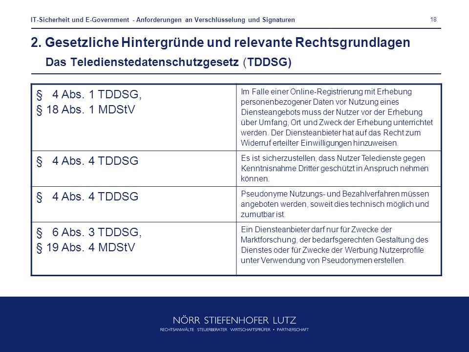 18 IT-Sicherheit und E-Government - Anforderungen an Verschlüsselung und Signaturen § 4 Abs. 1 TDDSG, § 18 Abs. 1 MDStV Im Falle einer Online-Registri