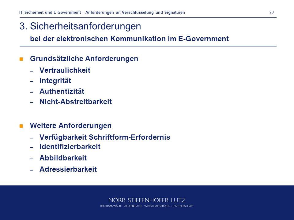20 IT-Sicherheit und E-Government - Anforderungen an Verschlüsselung und Signaturen Grundsätzliche Anforderungen – Vertraulichkeit – Integrität – Auth