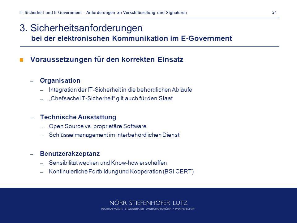 24 IT-Sicherheit und E-Government - Anforderungen an Verschlüsselung und Signaturen Voraussetzungen für den korrekten Einsatz – Organisation – Integra