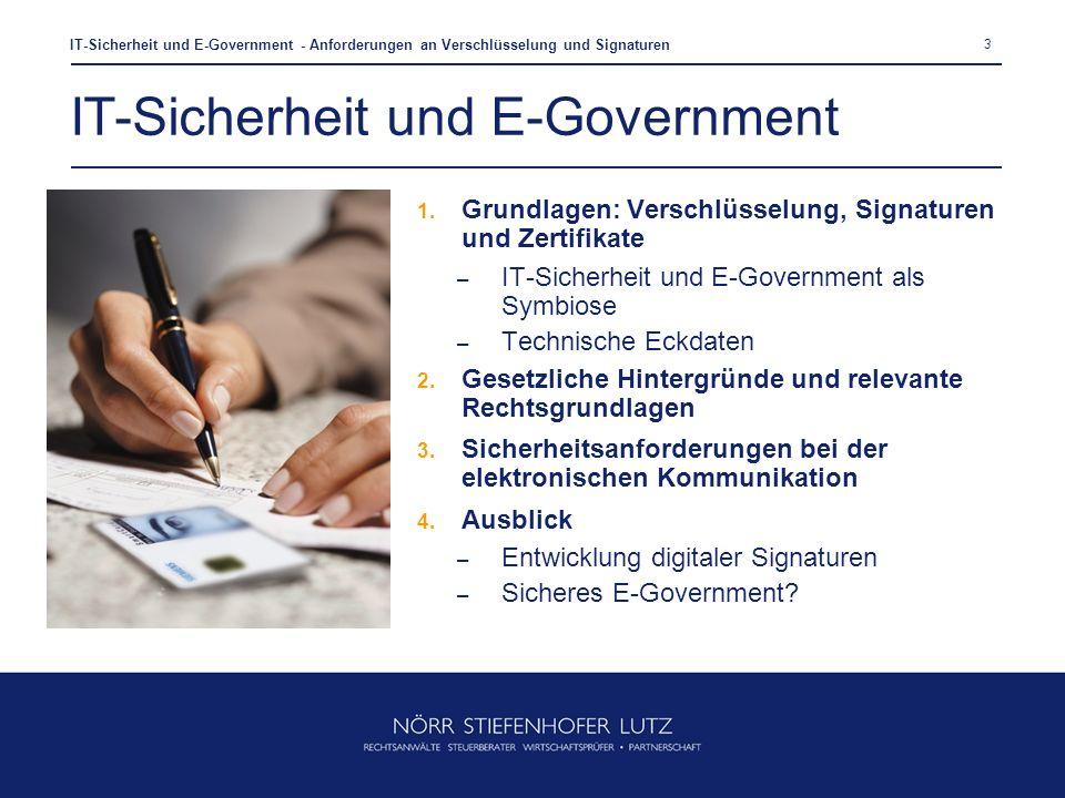 3 IT-Sicherheit und E-Government - Anforderungen an Verschlüsselung und Signaturen IT-Sicherheit und E-Government 1. Grundlagen: Verschlüsselung, Sign