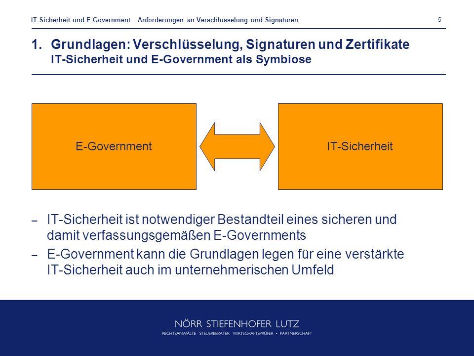 5 IT-Sicherheit und E-Government - Anforderungen an Verschlüsselung und Signaturen – IT-Sicherheit ist notwendiger Bestandteil eines sicheren und dami