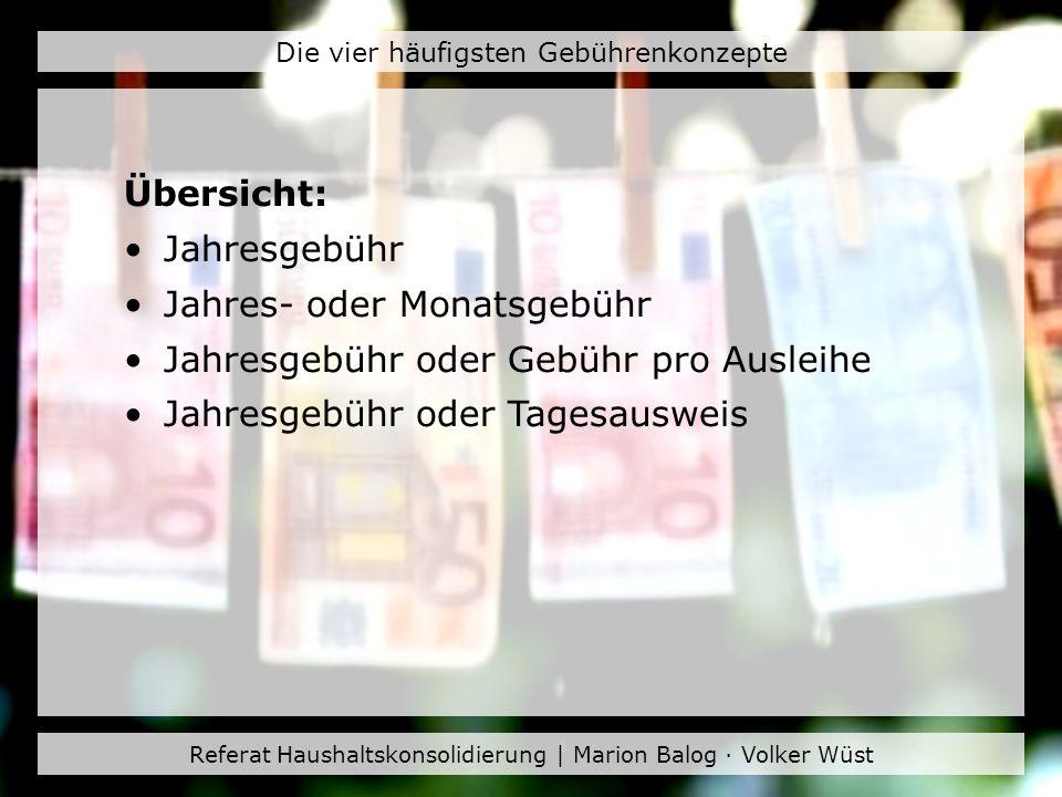 Referat Haushaltskonsolidierung | Marion Balog · Volker Wüst Die vier häufigsten Gebührenkonzepte Übersicht: Jahresgebühr Jahres- oder Monatsgebühr Ja