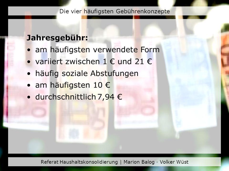 Referat Haushaltskonsolidierung | Marion Balog · Volker Wüst Die vier häufigsten Gebührenkonzepte Jahres- oder Monatsgebühr: Wahlmöglichkeit zwischen unterschiedlichen Zeiträumen (Monat, Quartal, Halbjahr) Dauernutzungsrabatt Jahresgebühr am häufigsten 10 Jahresgebühr durchschnittlich 11,87