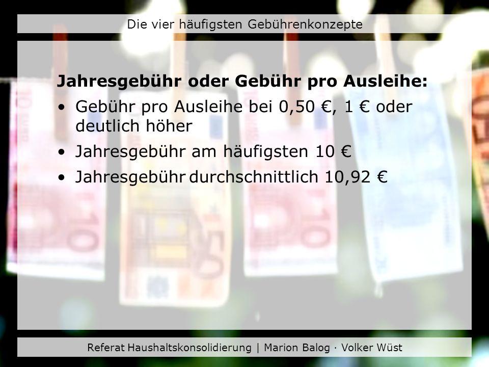 Referat Haushaltskonsolidierung | Marion Balog · Volker Wüst Die vier häufigsten Gebührenkonzepte Jahresgebühr oder Gebühr pro Ausleihe: Gebühr pro Au