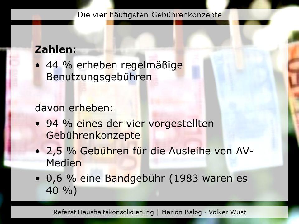 Referat Haushaltskonsolidierung | Marion Balog · Volker Wüst Die vier häufigsten Gebührenkonzepte Zahlen: 44 % erheben regelmäßige Benutzungsgebühren