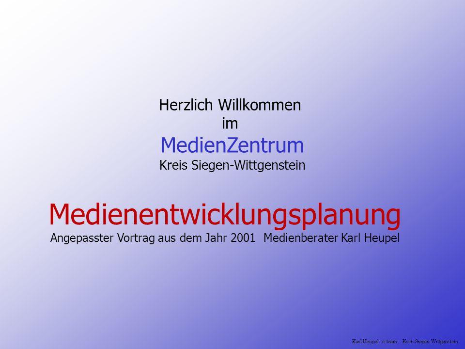 Herzlich Willkommen im MedienZentrum Kreis Siegen-Wittgenstein Medienentwicklungsplanung Angepasster Vortrag aus dem Jahr 2001 Medienberater Karl Heup
