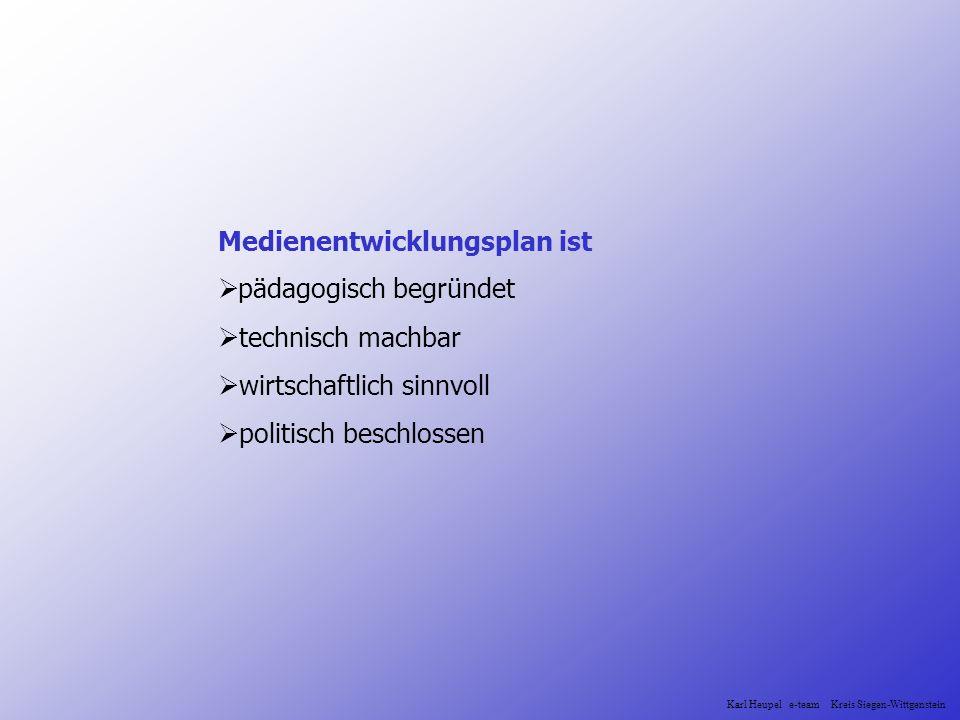 Medienentwicklungsplan ist pädagogisch begründet technisch machbar wirtschaftlich sinnvoll politisch beschlossen Karl Heupel e-team Kreis Siegen-Wittg