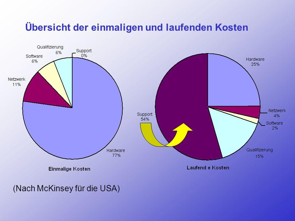 Übersicht der einmaligen und laufenden Kosten (Nach McKinsey für die USA)