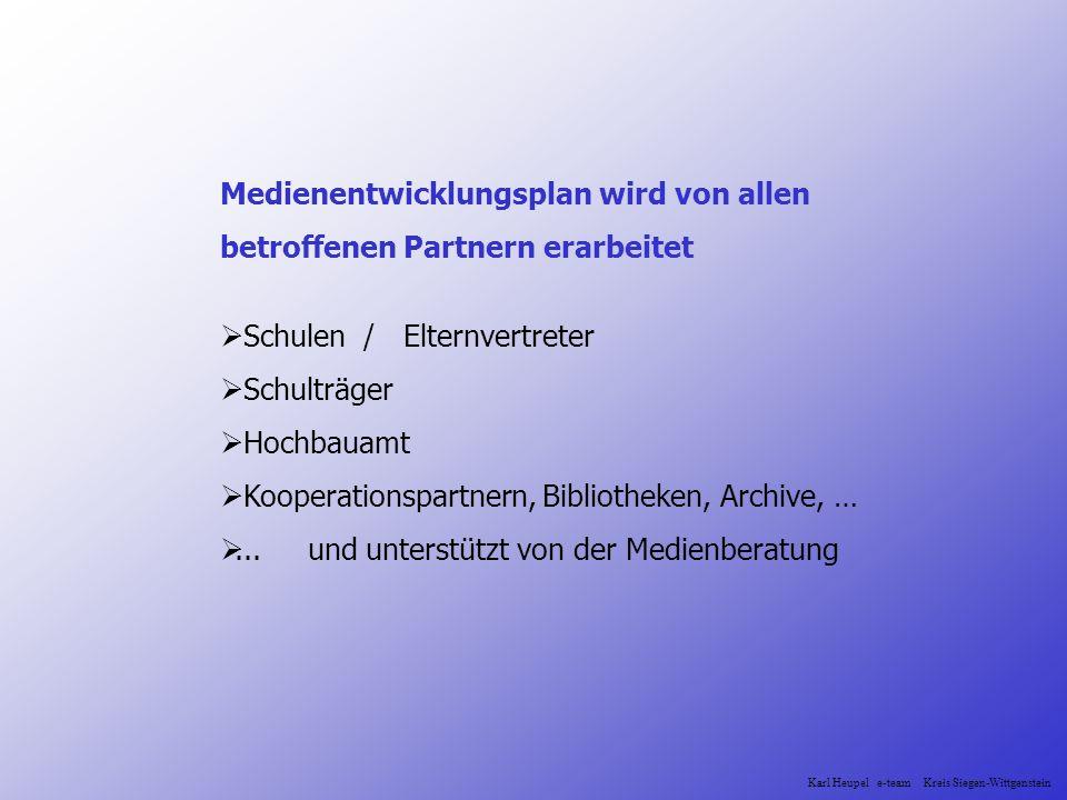 Medienentwicklungsplan wird von allen betroffenen Partnern erarbeitet Schulen / Elternvertreter Schulträger Hochbauamt Kooperationspartnern, Bibliothe