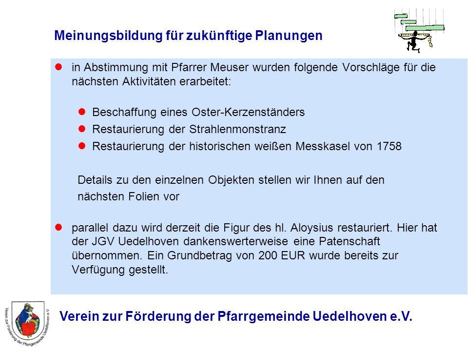 Verein zur Förderung der Pfarrgemeinde Uedelhoven e.V. Meinungsbildung für zukünftige Planungen in Abstimmung mit Pfarrer Meuser wurden folgende Vorsc