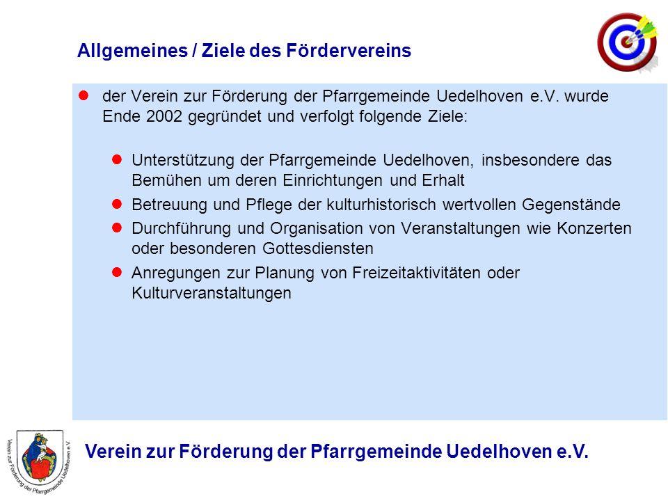 Verein zur Förderung der Pfarrgemeinde Uedelhoven e.V. Allgemeines / Ziele des Fördervereins der Verein zur Förderung der Pfarrgemeinde Uedelhoven e.V