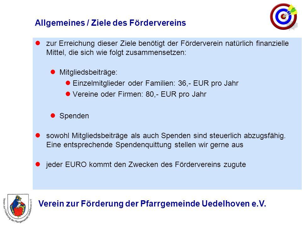Verein zur Förderung der Pfarrgemeinde Uedelhoven e.V. Allgemeines / Ziele des Fördervereins zur Erreichung dieser Ziele benötigt der Förderverein nat