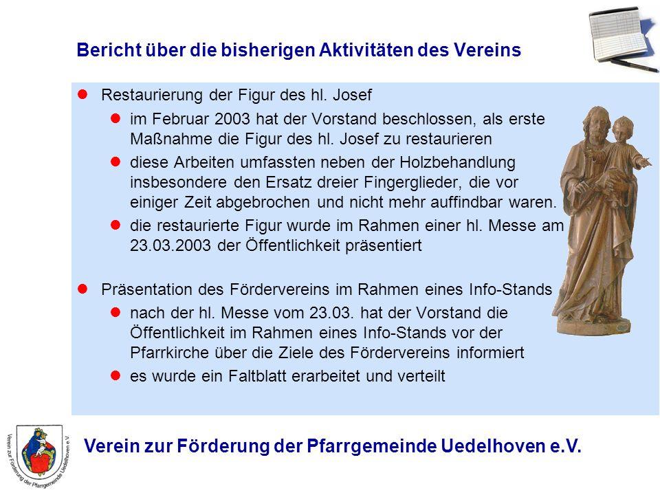 Verein zur Förderung der Pfarrgemeinde Uedelhoven e.V. Bericht über die bisherigen Aktivitäten des Vereins Restaurierung der Figur des hl. Josef im Fe