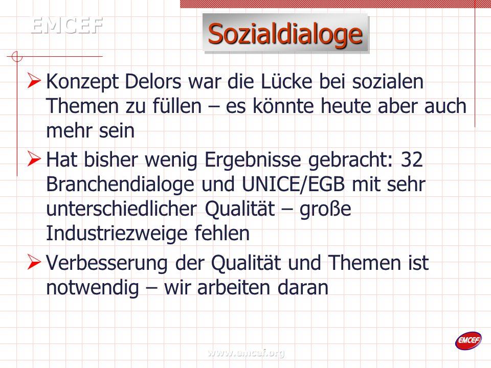 www.emcef.org Sozialdialoge Konzept Delors war die Lücke bei sozialen Themen zu füllen – es könnte heute aber auch mehr sein Hat bisher wenig Ergebnis