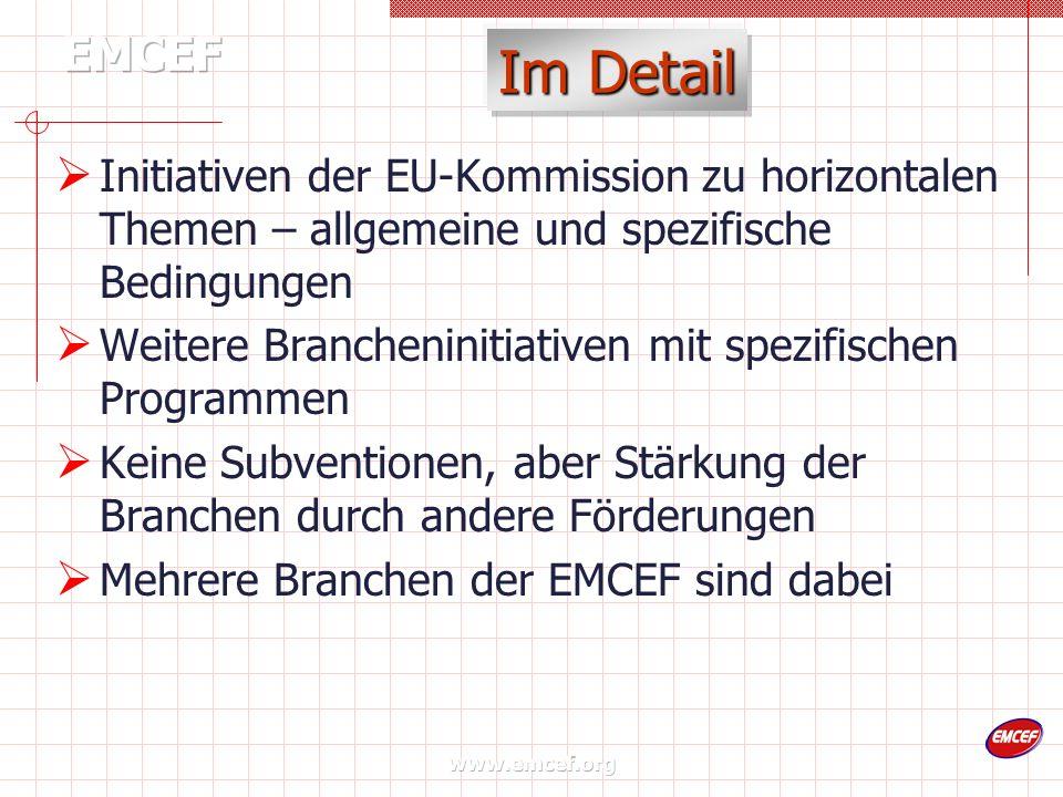 www.emcef.org Im Detail Initiativen der EU-Kommission zu horizontalen Themen – allgemeine und spezifische Bedingungen Weitere Brancheninitiativen mit spezifischen Programmen Keine Subventionen, aber Stärkung der Branchen durch andere Förderungen Mehrere Branchen der EMCEF sind dabei