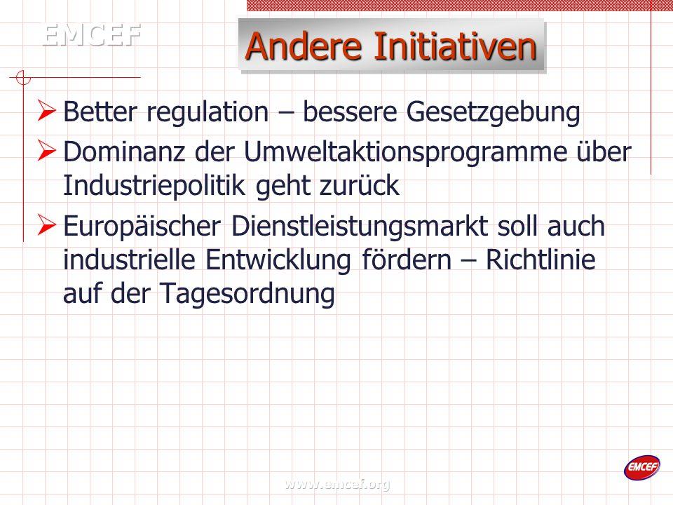 www.emcef.org Andere Initiativen Better regulation – bessere Gesetzgebung Dominanz der Umweltaktionsprogramme über Industriepolitik geht zurück Europäischer Dienstleistungsmarkt soll auch industrielle Entwicklung fördern – Richtlinie auf der Tagesordnung