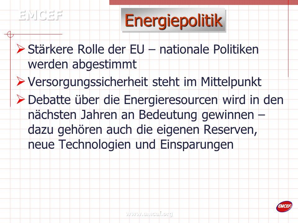 www.emcef.org Energiepolitik Stärkere Rolle der EU – nationale Politiken werden abgestimmt Versorgungssicherheit steht im Mittelpunkt Debatte über die Energieresourcen wird in den nächsten Jahren an Bedeutung gewinnen – dazu gehören auch die eigenen Reserven, neue Technologien und Einsparungen